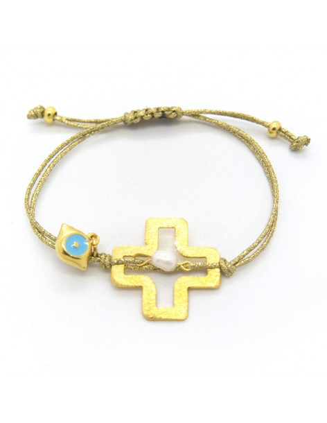 Fabric strap bracelet with gold plated bronze element CROSS