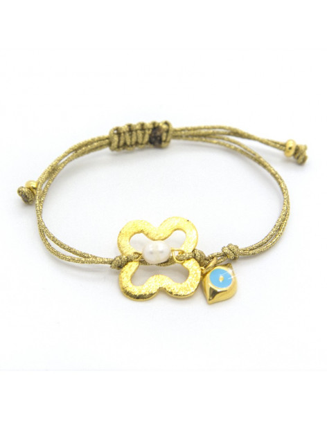 Fabric strap bracelet with gold plated bronze element STU