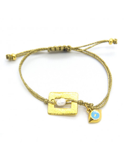 Fabric strap bracelet with gold plated bronze element SINE