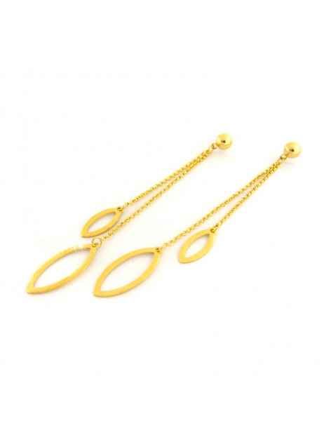 Long earrings of bronze gold SIEL