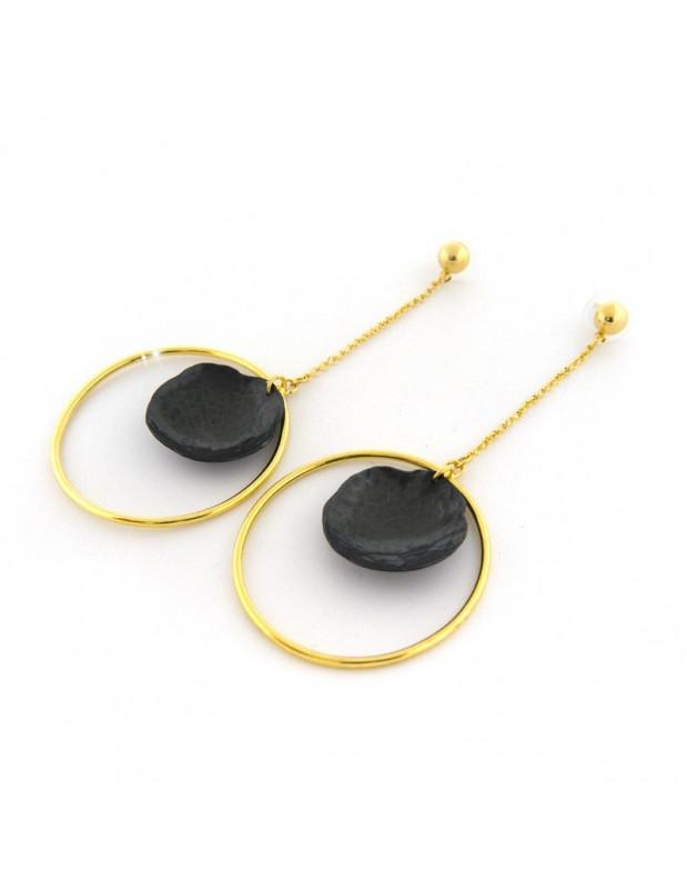 Long earrings of bronze handmade gold black HIER