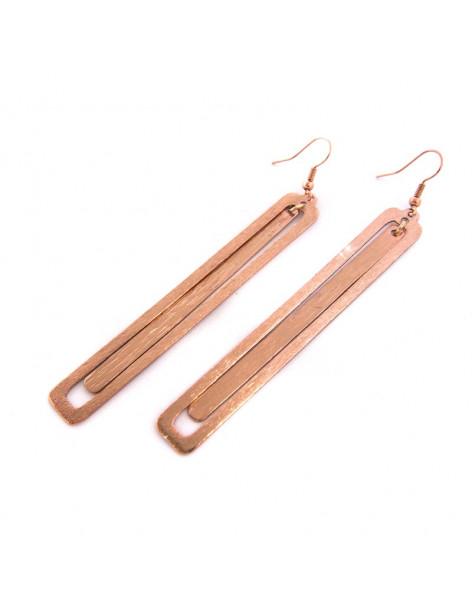 Lange Ohrringe aus Bronze handgefertigt rosegold LATE