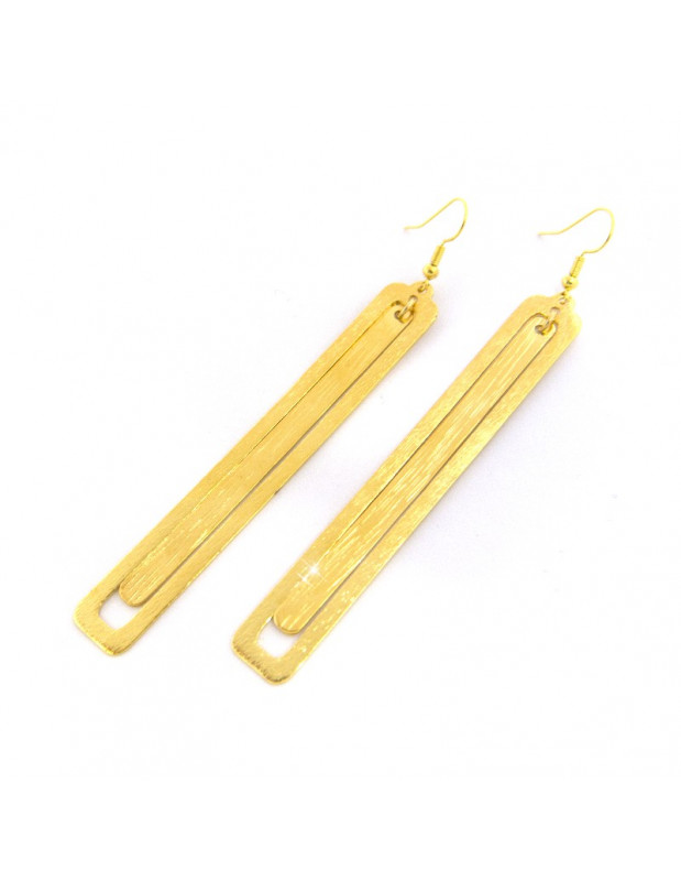 Lange Ohrringe aus Bronze handgefertigt gold LATE