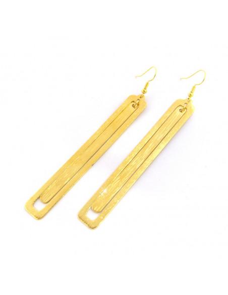 Long earrings of bronze handmade gold LATE