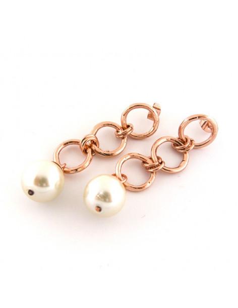 Perlen Ohrringe aus Bronze rosegold FERA