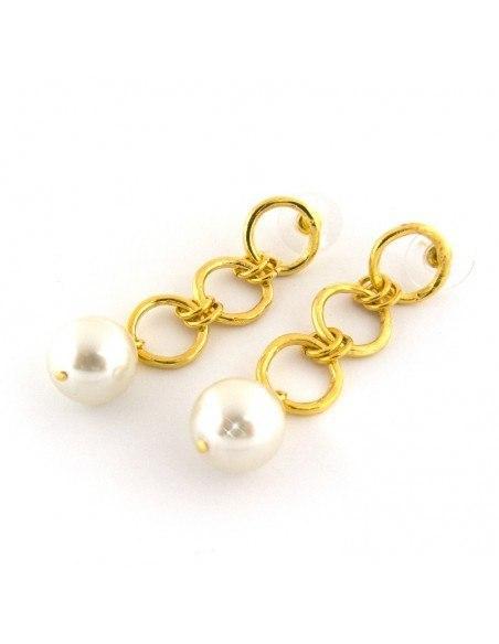 Perlen Ohrringe aus Bronze gold FERA