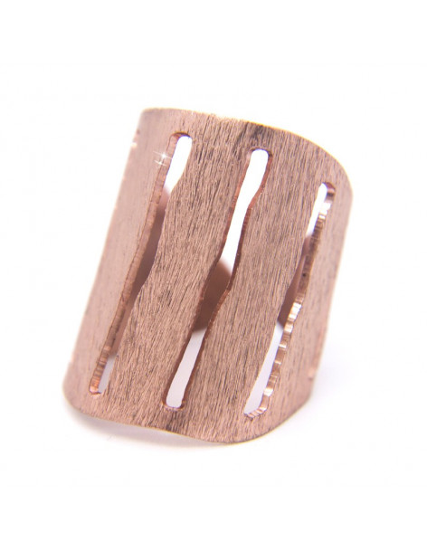 Δαχτυλίδι από μπρούτζο χειροποίητo ροζ χρυσό RAIN