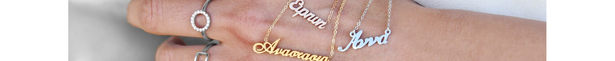 Greek Name Necklaces   Many designs online at BIJOU BOX